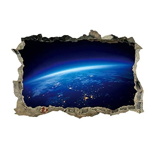 QJIAHQ Pegatinas de pared creativas de galaxias del universo 3D para techo de techo pegatina de ventana Mural decoración personalidad pegatina de suelo impermeable 45x60cm
