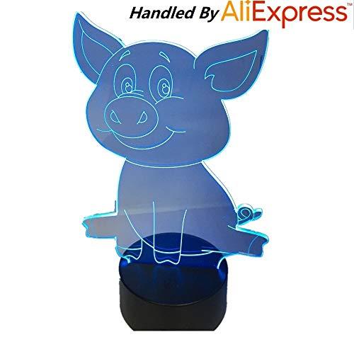 Reizendes nettes Schwein-Nachtlicht-Schwein 3D Lampe Bulbing Note Swithc buntes Schreibtisch USB-Tabellen-Schreibtisch-Nachtlicht