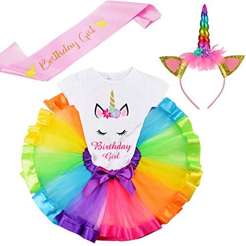 LYLKD Little Girls Unicorn Outfit Dress,Layered Rainbow Tutu Skirt,Unicorn T-Shirt and Unicorn Horn Headband. (Bday-Rainbow, XL,5-6 Years)