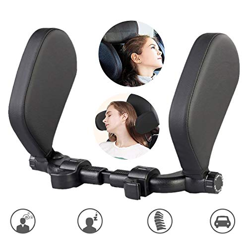 STYLOOC Car Seat Headrest Pillow, Car Seat Pillow Headrest Support Neck Pillow Head Protection Cervical Spine Adjustable on Both Sides Telescopic Version PU Leather Universal for Kids Adults Travel