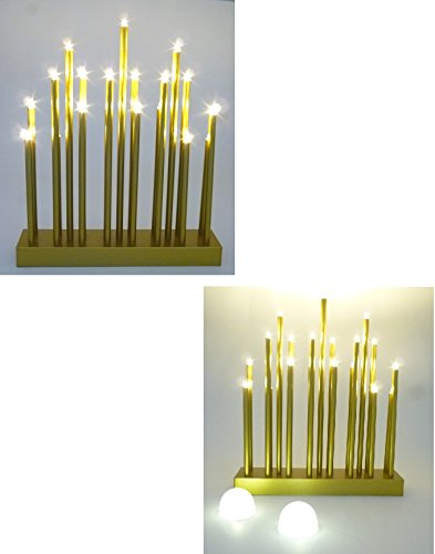 2 x LED Stimmungsleuchten 19 flammig Dekoleuchte Dekolampe Fensterbeleuchtung (goldfarben)