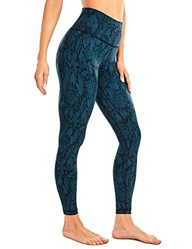 CRZ YOGA Damen Sports Yoga Leggings Hoher Taille Sporthose mit Tasche -63cm Grüner Serpentin 38