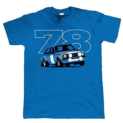 Vectorbomb Escort Mk2 RS1800, Mens Rally Car Tshirt XXL Blue