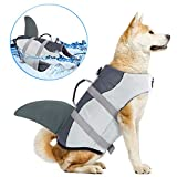 Dog Life Jackets, Ripstop Pet Floatation Life Vest for Small, Middle, Large Size Dogs, Dog Lifesaver Preserver Swimsuit for Water Safety at The Pool, Beach, Boating (Small, Grey Shark)