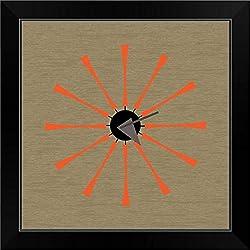 CANVAS ON DEMAND Mid Century Spindle Clock Black Framed Art Print, 19x19x1