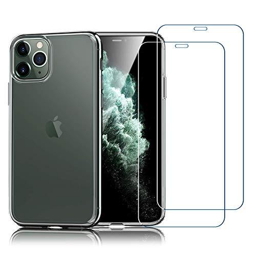 Habett Custodia iPhone 11 PRO + Pellicola Vetro Temperato, Trasparente Cover Sottile Silicone Gel TPU Case + 2 Pz Pellicola Protettiva in Vetro Temperato per iPhone 11 PRO-5.8 Pollici, Antiurto