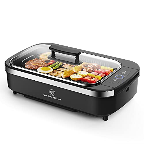 Indoor Grill-Smokeless Grill Electric Grill with Lid, Casting Nonstick Griddle Pan, Led Temperature...