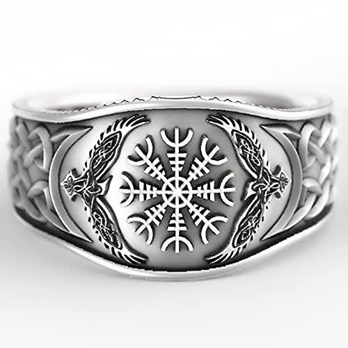 GXY&YT Anillo de brújula vikinga rúnica con nudo celta de águila, joyería pirata, símbolo de texto escandinavo, alianza de boda, 9