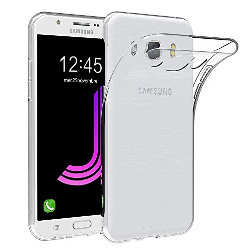 REY Funda Carcasa Gel Transparente para Samsung Galaxy J7 (2016), Ultra Fina 0,33mm, Silicona TPU de Alta Resistencia y Flexibilidad