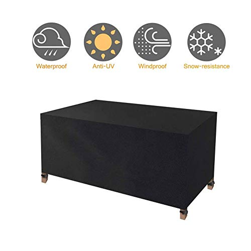 HJHYE Protective Cover for Rectangular Garden Table, Weatherproof Cover for Square Tables, Sofa, Daybed, Chairs Waterproof Breathable Garden Furniture Cover270x180x89cm