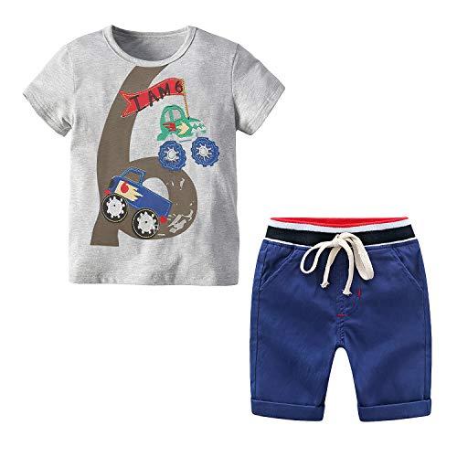 Kleinkind Jungen Sommeranzug 2 Stück Set Baumwolle T-Shirt + Kordelzug Shorts 2-3 Jahre Baby Boy Kleidung (Nummer 6,2-3 Jahre)