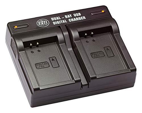 BM Premium LP-E12 Dual Battery Charger for Canon EOS-M, EOS M2, EOS M10, EOS M50, EOS M50 II, EOS M100, EOS M200, SX70 HS, Rebel SL1 Cameras