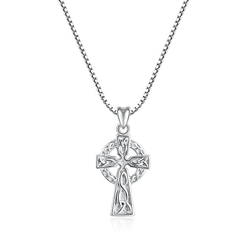 Angemiel 925 Sterling Silver Good Luck Irish Celtic Cross Vintage Pendant Necklace Gift for Women Girl, Box Chain 18'