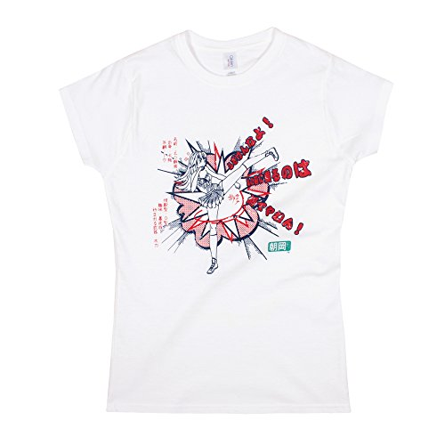 Strand Clothing Japonais pour Homme – Asaoka Haute Kicking – Anime Manga Girl – Femme pour Femme Imprimé T-Shirt – Blanc - Blanc - Small