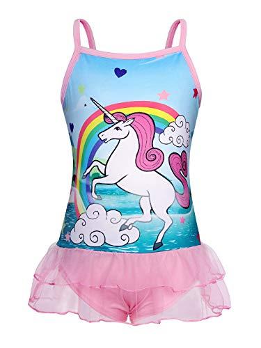 Jurebecia Bañador Niñas Traje de baño de una Pieza Traje de baño Unicornio para niñas Bikini niñas