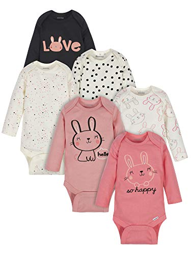 Onesies Brand - Body de manga larga para bebés (6 unidades), Rosa (Bunny Pink), 12 meses
