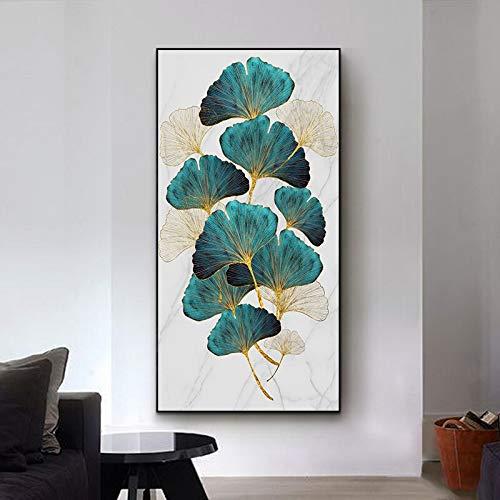wZUN Cartel de Hoja de Planta Dorada Verde Abstracto Carteles Impresos en Lienzo nórdico e Impresiones Pared de Arte Decorativo para Sala de Estar 50x90 Sin Marco