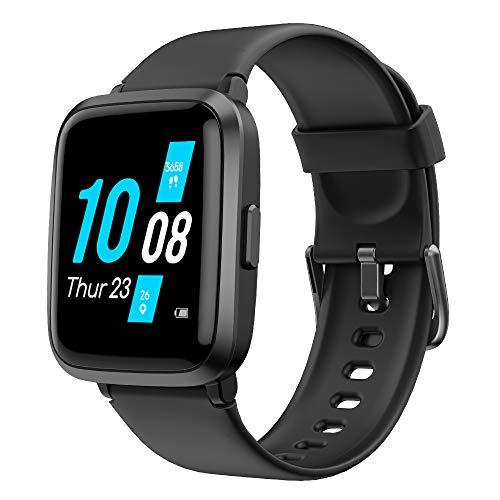 YAMAY Smartwatch con Oxímetro de Pulso Esfigmomanómetro y Pulsómetro Reloj Inteligente Impermeable para Hombre Mujer , Pulsera de Actividad Inteligente podómetro con Cronómetro para Android iOS