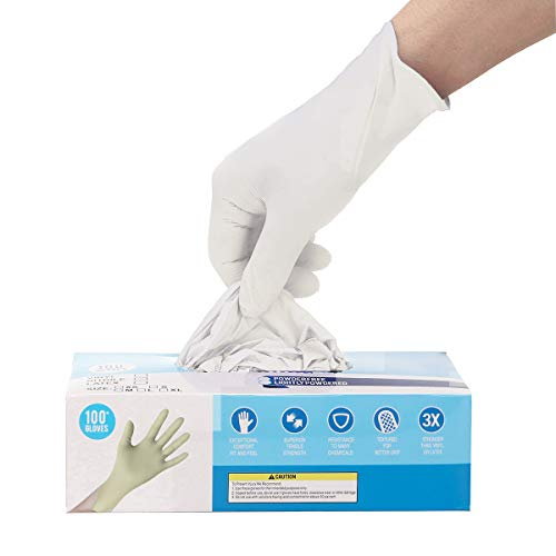 100 Pcs Gloves Ship from USA, Powder Free, Disposable,Soft Industrial Gloves,Latex Free, Cleaning Glove for Family Use,Arrive in 7-10 Days (S, White)
