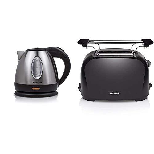 Tristar Edelstahl Wasserkocher mit 1,2 Liter Fassungsvermögen - 360° rotierbar mit Wasserstandsanzeige & BR-1025 Toaster - 6 einstellbare Bräunungsstufen mit Brötchenaufsatz