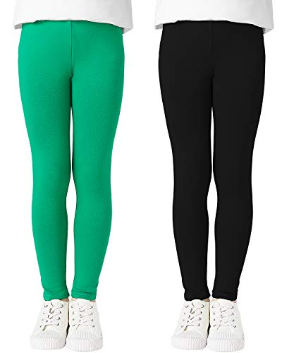 Adorel Leggings Stretch Pantaloni Cotone Bambina Confezione da 2 Viola e Verde Nero 6-7 Anni (Dimensione del Produttore 130)
