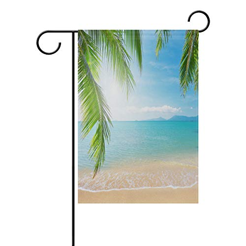 WIHVE Polyester Garden Flag, Palms Ocean Tropical Beach Double Sided Holiday Flag for Party Home Outdoor Decoration 12 x 18 Inches