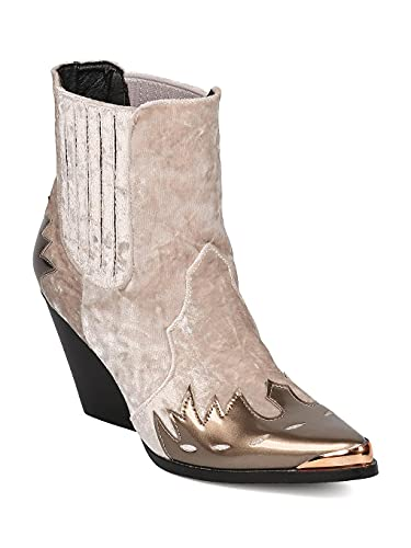 Cape Robbin Women Mixed Media Pointy Toe Flame Pattern Cowboy Bootie,Champagne Mix Media,7