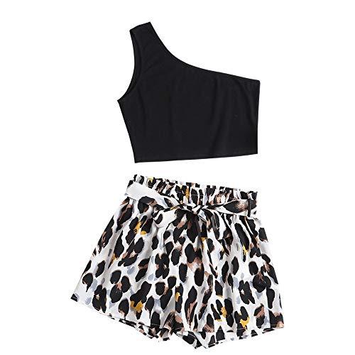 ZAFUL Eine Schulter Leopard Papiertüte Shorts Set Crop Top und Hochtaillierte Shorts(Schwarz,M)
