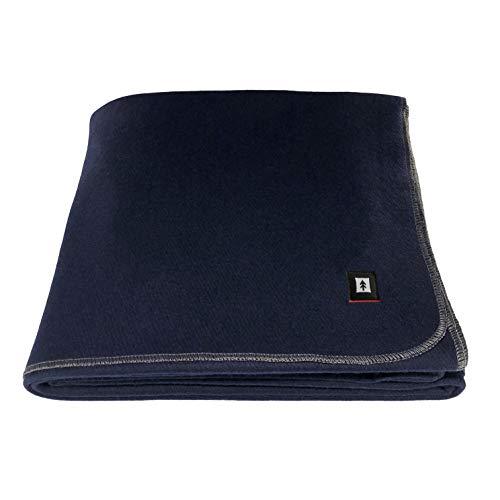 EKTOS 100% Wool Blanket, Washable, 5.0 lbs, 66'x90' (Twin Size) - Navy Blue