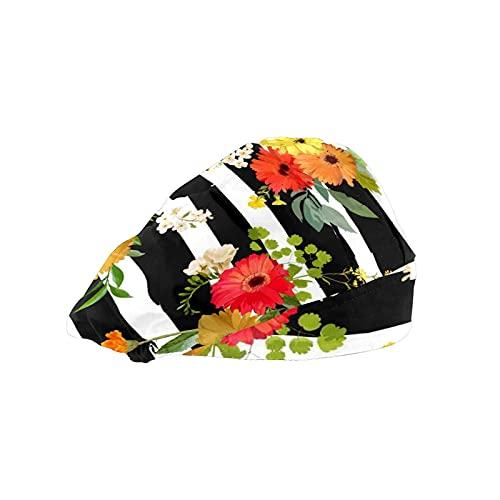 Gorra de mujer para cabello largo Trabajo sombrero con banda elástica ajustable de trabajo gorras para hombres Trabajo cabeza bufanda 3D impreso sombreros colorido flores dibujo