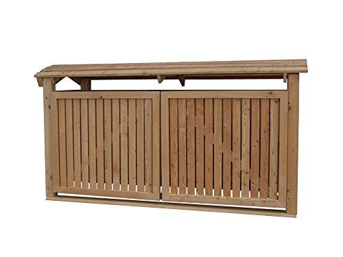 Abfalltonnenverkleidung Holz, Modell Mailo, für drei 240 Liter Mülltonnen, geölt - 2