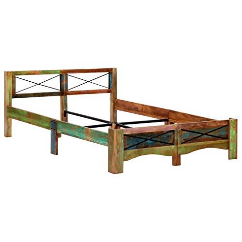 vidaXL Bettgestell Vintage Holzbett Doppelbett Bett Massivholzbett Schlafzimmerbett Futonbett Bettrahmen Ehebett Recyceltes Massivholz 140x200cm