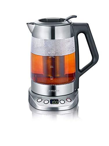 SEVERIN Glas-Tee-/Wasserkocher Deluxe, Mit Temperaturregler (Für 1,7 L Wasser/1,5 L Tee, ca. 3.000 W, WK 3479) edelstahl/schwarz