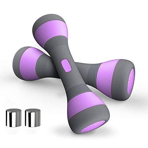 Set di manubri regolabili, per donne, multiuso, coppia di pesi per fitness, casa, palestra, esercizi, allenamento di forza, manubri da yoga da donna, da 2 kg a 4 kg, Viola, 8.8LB