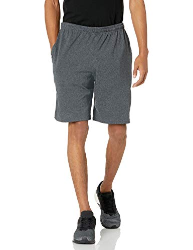 Russell Athletic Men's Cotton Baseline Short with Pockets, Black Heather, Medium
