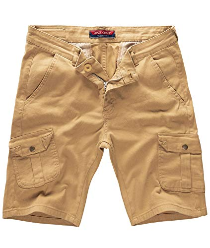 Rock Creek Herren Cargo Shorts Chinoshorts Kurze Hose Short Cargoshorts Sommer Kurzehose Sommerhose Bermudas Stretch Short RC-2203 Camel W31