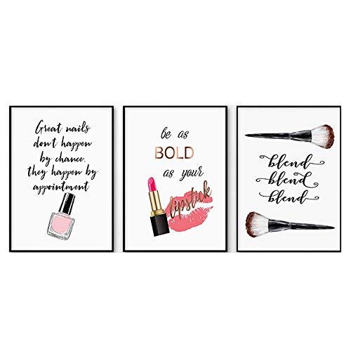 LáPiz Labial Eyelish UñA Polaco Moda Poster Maquillaje Imprimir Lienzo Arte Pintura Minimalista Citas Pared Cuadro Moderno Chica HabitacióN Decoracion 30x40cmx3 No Marco