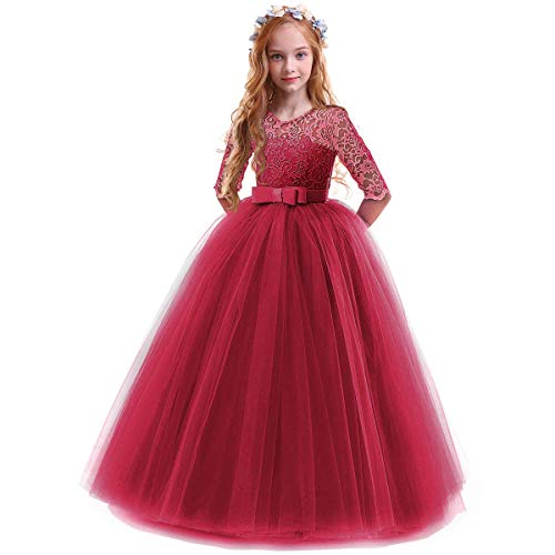 IBTOM CASTLE Spring Flower Girl Wedding Bridesmaid 3/4 Sleeves Kids Floral Lace Pageant Communion Princess Dress Prom Evening Dance Gown Burgundy 9-10 Years