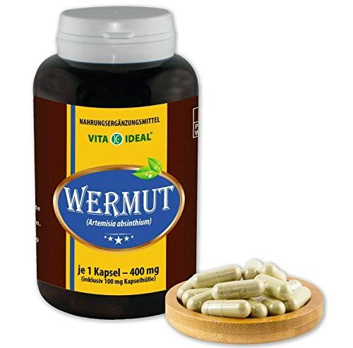 Vita Ideal® Wermut (Artemisia absinthium), 360 capsules van elk 400 mg, van zuiver natuurlijke kruiden, zonder additieven