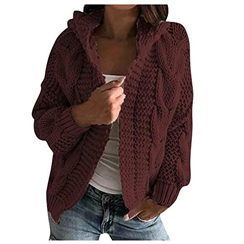 Shopler Cable Knit Cardigan de manga larga para mujer, cable grueso, suéter de punto con capucha invierno casual color sólido chaqueta, Vino, XXL