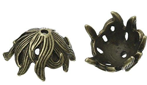 SiAura Material Lot de 10 capuchons de perles en métal Motif feuilles Bronze 15 x 17 mm
