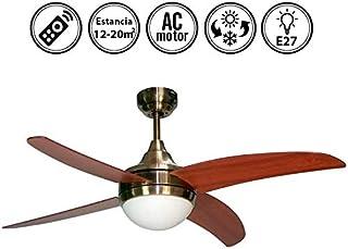 Ventilador de techo mod. OSIRIS con luz y mando a distancia, 117 cm. acabado Cuero Satinado con 4 palas Cerezo-Nogal, AkunaDecor.