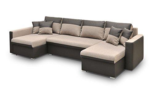 Canapé d'angle 7 places Marron Tissu Confort