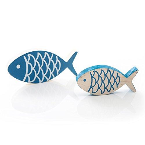2 Stück bemalte blaue Holz-FISCHE PAAR 13 x 6 cm + 10 x 5 cm, jeweils 1,5 cm stark zum Hinstellen Deko-Fisch Zierfisch … als hübsche maritime Dekoration fürs Badezimmer, als Tischdeko zur Taufe.