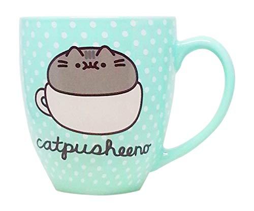 Kaffeebecher Pusheen Katze für Katzenliebhaber Kaffeetasse mit Punkten, süße Geschenke 457 ml Catpusheeno Tasse – Tierliebhaber Pusheen Cartoon Kitty Katze Kaffeetasse Geschirr 18 Oz Grün gepunktet