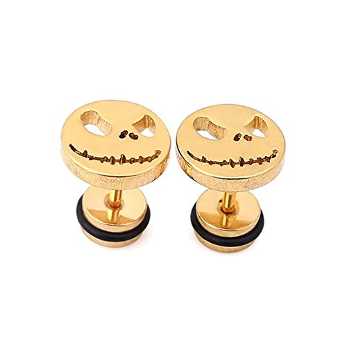AdorabFruit Cráneo Pendiente Mal Sonrisa Pendientes de Esqueleto del oído del Perno Prisionero de la joyería Piercing con Jack Cara for los Hombres Unisex Accesorios (Metal Color : Gold 1 Pair)