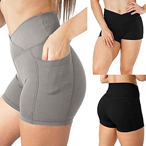 Briskorry Short de yoga court pour femme, leggings de sport, taille haute, pantalon de sport, fitness, pantalon d'entraînement avec poches.