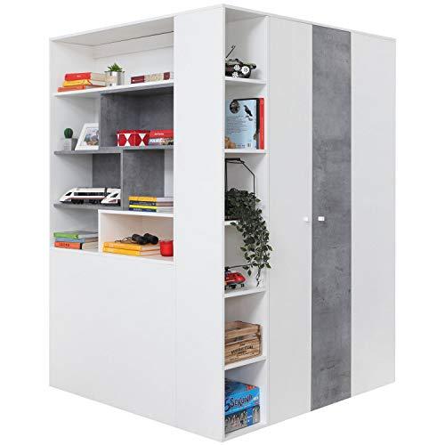 furniture24_eu Begehbarer Kleiderschrank Schrank Eckschrank Eckkleiderschrank Sigma-1 (Beton/Weiß)