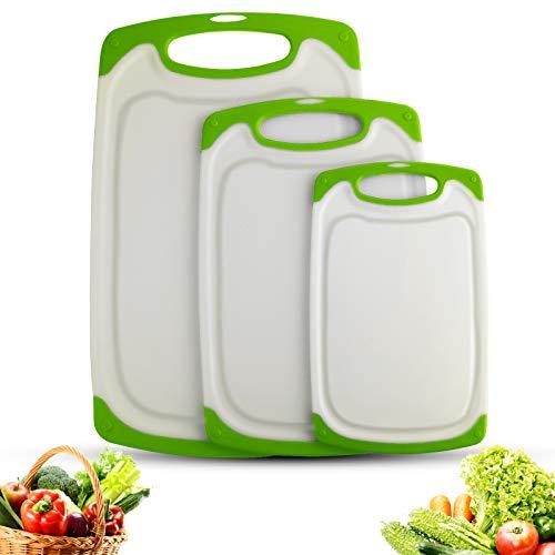 Juego de Tablas de Cortar,Tablas de Cocina para Cortar, Tabla de Cortar de Plástico, sin BPA, con ranuras para zumos, Apta para Lavavajillas(Juego de 3 unidades) (Verde)