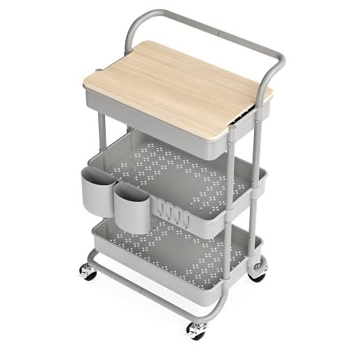 3 Tier Rolling Cart, with Table Top, Rolling Storage Cart with Handles and Locking Wheels, Utility Cart with 2 Small Baskets and 4 Hooks for Bathroom. Office, Balcony, Living Room (Grey)